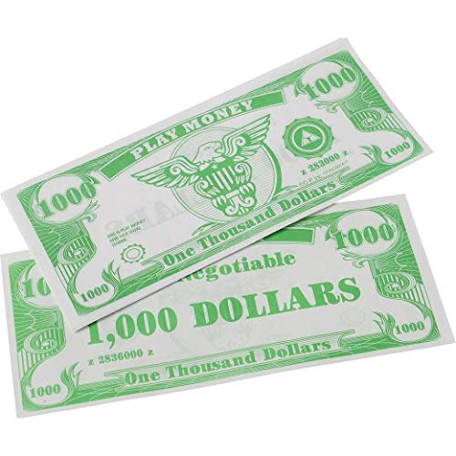 US Toy Play Money $100 Dollar Bill (1,000 pcs), 6 x 2 1/2 inches