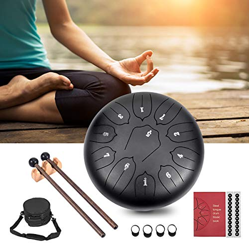 Steel Tongue Drum, WZTO 11 Noten 10 Zoll Lotus Flower Pan Drum Percussion Steel Drum Instrument mit Trommelschlägeln und Tragetaschen