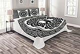 ABAKUHAUS keltisch Tagesdecke Set, Einheimische Baum des Lebens Kunst, Set mit Kissenbezügen Moderne Designs, für Doppelbetten 264 x 220 cm, Weiß Schwarz