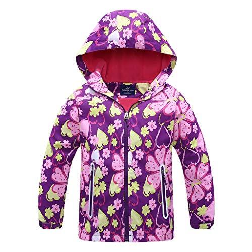 Sensail 2-8ans Veste en Duvet pour Enfants à Manches Longues à Fleurs imprimé imperméable Automne et Hiver Veste Chaude Veste Manteau en Coton