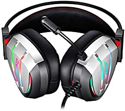 JINDUN Gaming Headset Dynamic RGB Streamer LED with 7.1 Surround Sound and Noise Reduction Microphone, and Compatible with PS4, Sega Dreamcast, Game Boy Advance and PC