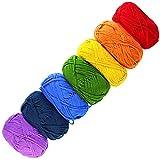 Gouert 7 x 50g Bunt Stricken Wolle Set (Farben: rot, orange, gelb, grün, blau, dunkelblau, lila) für Stricken Handstrickgarn Häkelgarn