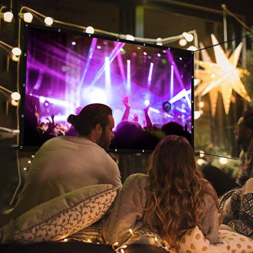 Vamvo L4200 Projector with 120Inch Projector Screen--Mini Portable Video Projector Full HD 1080P Outdoor Movie Projector+3-Layer 120 inch 16:9 HD Foldable Projection Screen