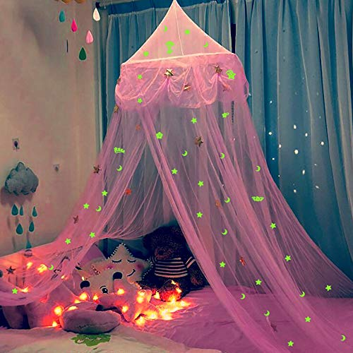 Glamorstar Bed Canopy for Girls Princess Mosquito Net Glow in The Dark Stars and Moon Crib Hanging Tent Bedroom Decor Gift for Kids Pink