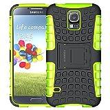 ALDHOFA - Carcasa para Samsung Galaxy S5, resistente a golpes, funda de protección de doble capa con función atril integrada, color verde