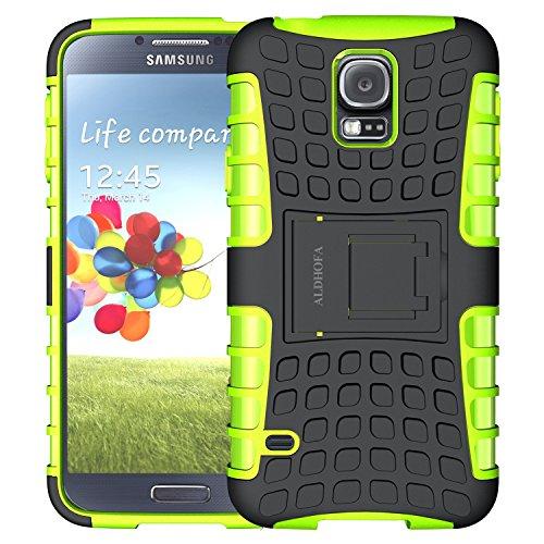 ALDHOFA Cover Samsung Galaxy S5, Doppio Strato a Ibrida Phone Caso per Samsung S5-Verde