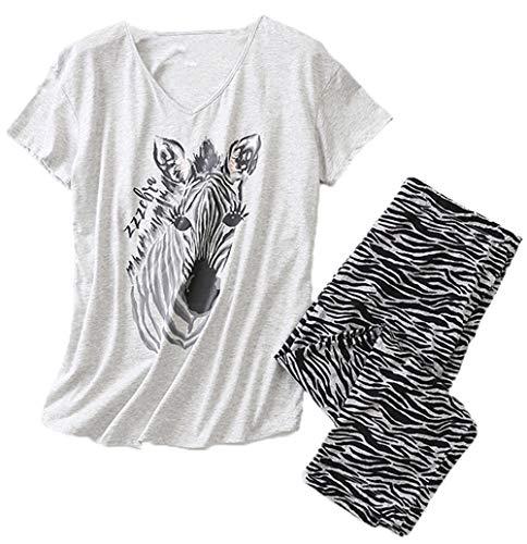 Women's Pajama Set - Cotton-Blend Short-Sleeve Loose Top with Matching Capri Bottoms SY296-Zebra-3XL