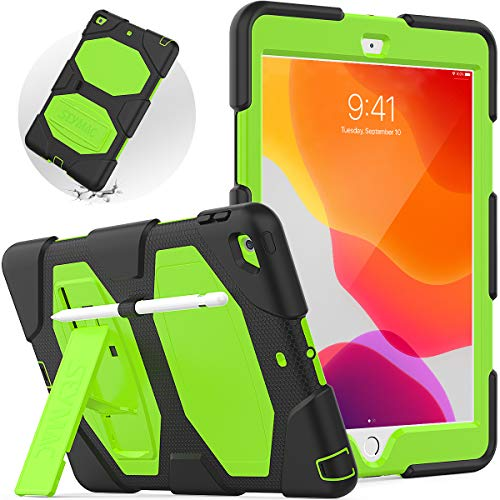 SEYMAC New iPad 8th Generation Case, iPad 7th Generation Case, iPad 10.2 Inch Case 2019 [Pencil Holder] Sturdy Shockproof Case with Strong Stand, High Impact Durable Protective Cover for Kids, Green