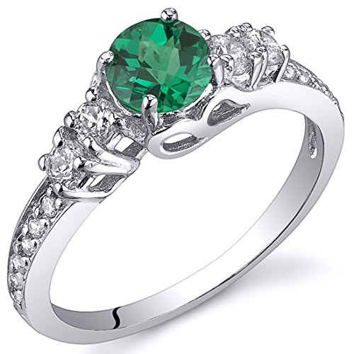 Simulated Emerald Solstice Ring Sterling Silver Size 5