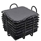 Slate Drink Coasters, GOH DODD 4 Inch Natural Rustic Square Stone Rock Coasters with Anti-Scratch Bottom and Holder for Bar Kitchen Home Decor, 8 Pieces, Black