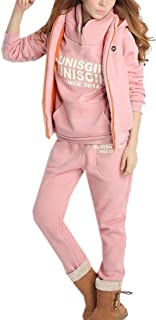 FSSE Women Hooded Sweatshirt and Vest and Pants Letter Print 3 Piece Sports Outfit Set