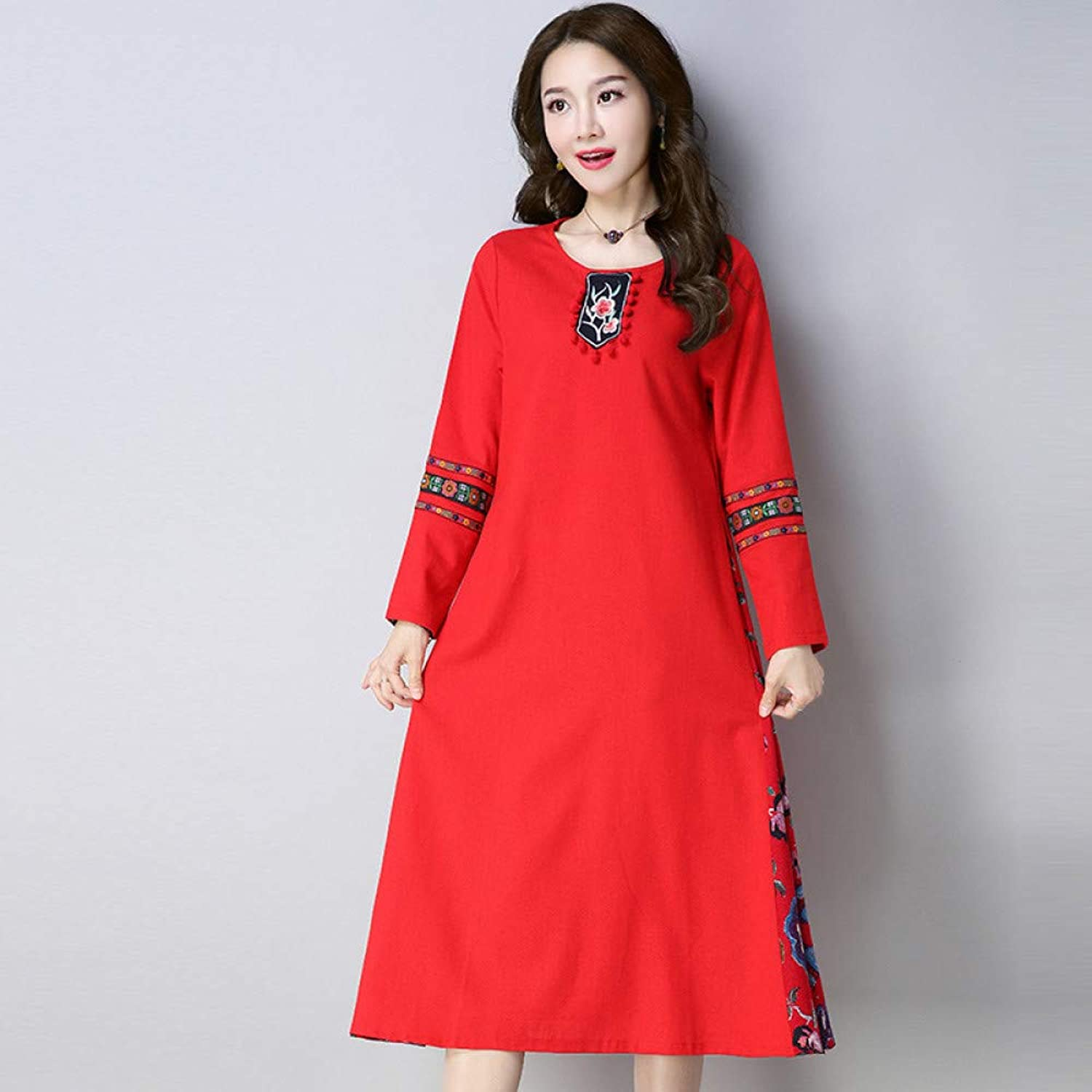 Cxlyq Dresses Embroidered Cotton and Linen Long Sleeves Large Swing Dress