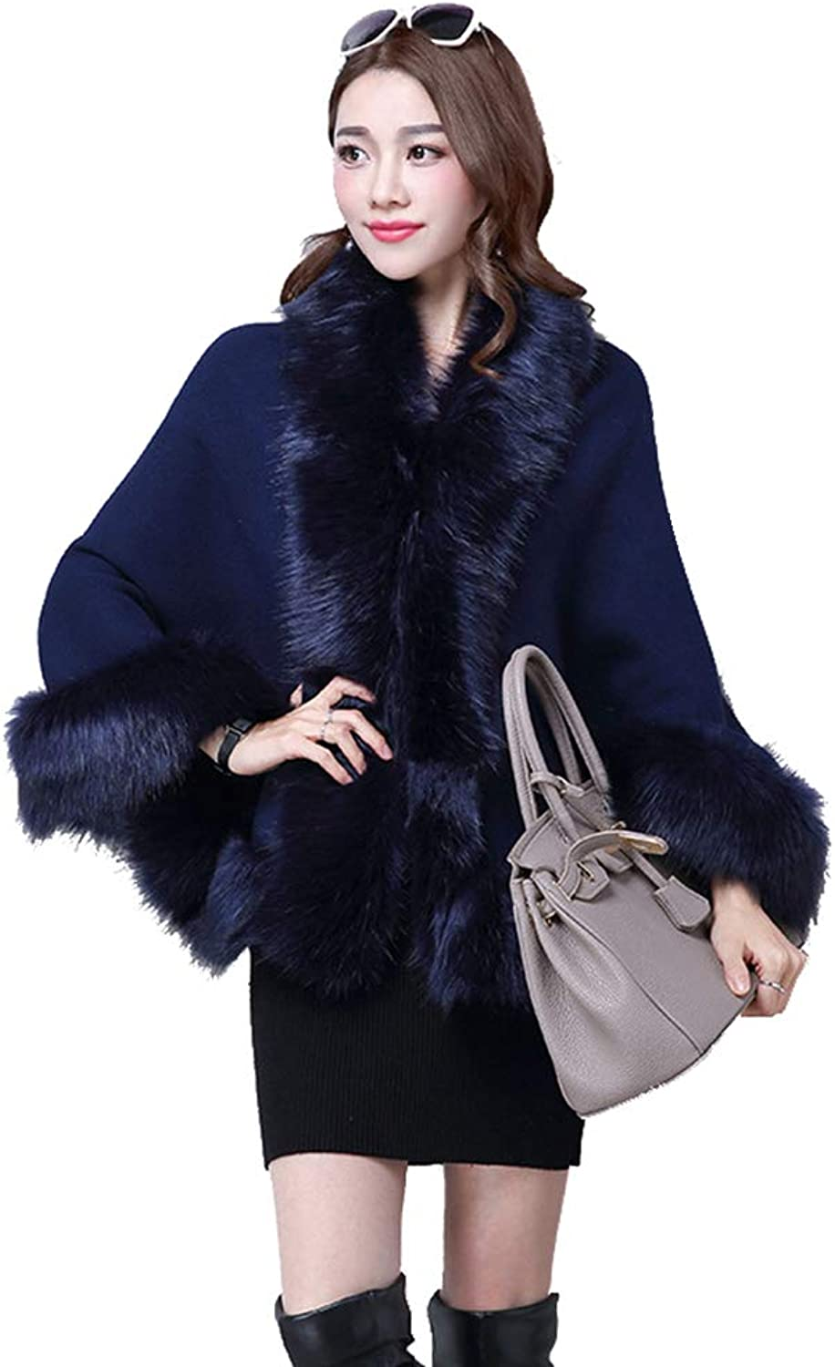 Womens Cape Poncho Coat Womens Winter Warm Thick Open Front Cardigans Shawl Winter Parka Wrap Cardigan Cloak Jacket for Winter Cocktail (color   Navy bluee)