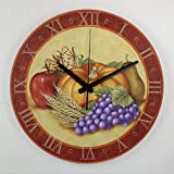 Flowershave357 Orologio da parete in legno vintage floreale frutta verdura raccolta 38 cm rotondo appeso orologio rustico stile toscano silenzioso decorazione da parete per casa, ufficio, scuola