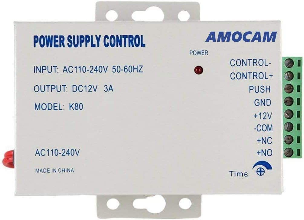 AMOCAM K80 Power Supply Control, AC 110-240V to DC 12V Power Supply for Door Access Control System, Video Doorbell, Electric Strike Lock, Bolt Lock, Magnetic Lock, Power Supply Controller