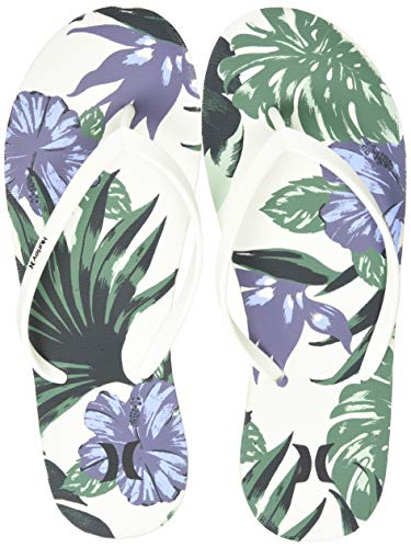 Hurley Women's One & Only Floral Flip Flop Sandal, sail, 9