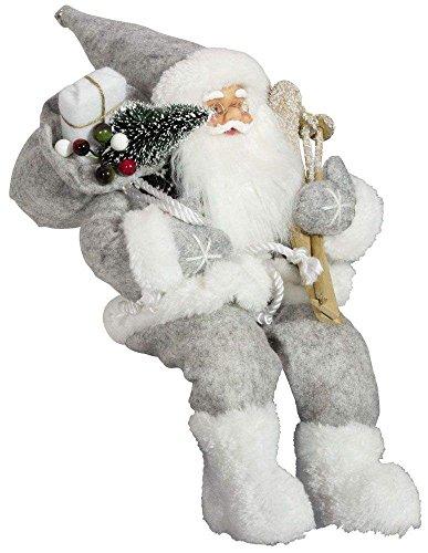Christmas Paradise Weihnachtsmann Santa Nikolaus Evan Kantenhocker mit schönem Gesicht und vielen Details/Größe ca.45cm / Grauer Fellmantel, graue Fellmütze, graue Hose, Fellstiefel - Trendyshop365