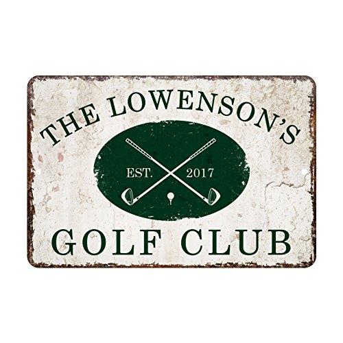 Pattern Pop Personalized Vintage Distressed Look Golf Club Metal Room Sign
