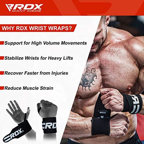 Authentische RDX Handgelenk Gewichtheben Training Gym Griff Handschuhe Body Building B D - 3