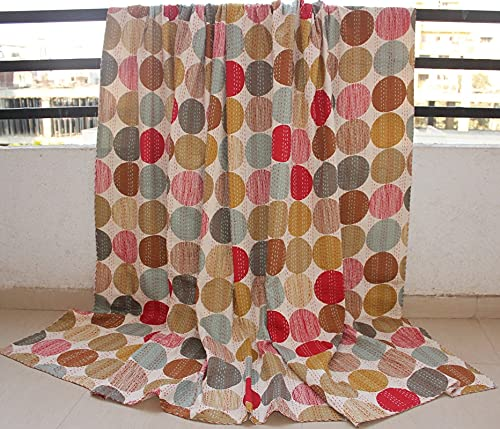 DN Handicraft Edredón Kantha hecho a mano de cristal étnico de algodón de lunares kantha rojo que deja de fumar