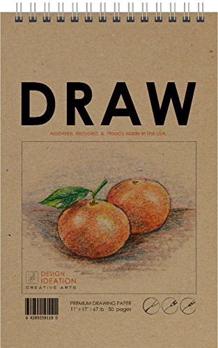 """Drawing: Premium Paper Drawing Book for Pencil, Ink, Marker, Charcoal and Watercolor Paints. Great for Art, Design and Education. Made in The USA. Big 11"""" x 17"""""""