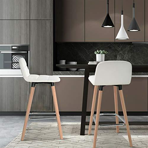 ModernLuxe - Set di 2 sgabelli da bar, in similpelle, per colazione, cucina, bancone e bar, gambe in legno, colore: Grigio, bianco, 2 pezzi