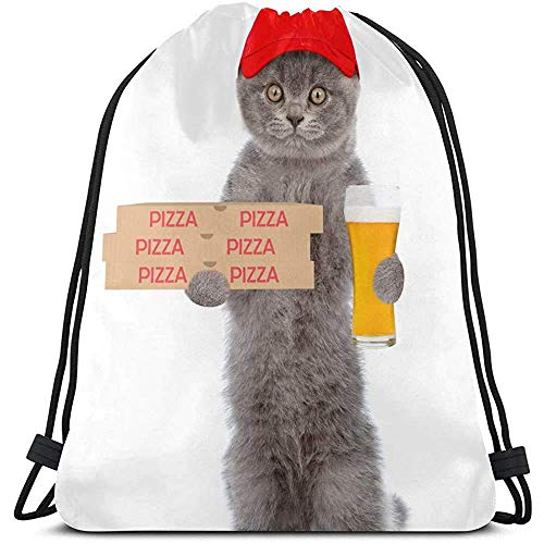 Yuanmeiju Kordeltasche ziehen,Kordelzug Gym Sack,Funny Pizza Delivery Cat In Red Cap with Pizza Box Bags Sport Party String Backpack for Women String Pull Bags Party for Outdoor,Travel,Gym