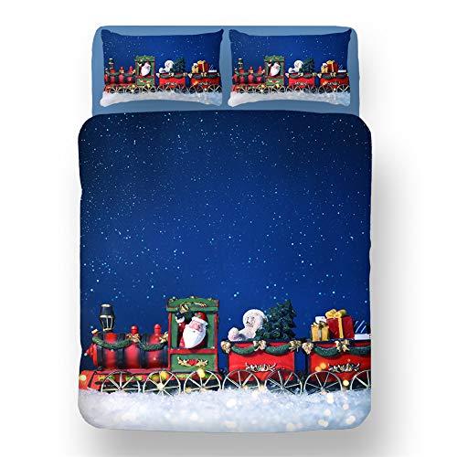 ZYLH Funda nórdica de Navidad para adultos y niños (135 x 200 cm) de microfibra, 1 funda nórdica suave y mullida con cremallera y 2 fundas de almohada de 80 x 80 cm (220 x 260 cm).