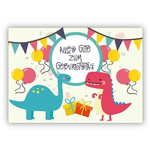Super coole verjaardagskaart met dinosaurus in feeststemming en met ballonnen: Alles goed voor verjaardag • nobele felicitatiekaarten voor verjaardag met enveloppen, zakelijk en privé 16 Grußkarten