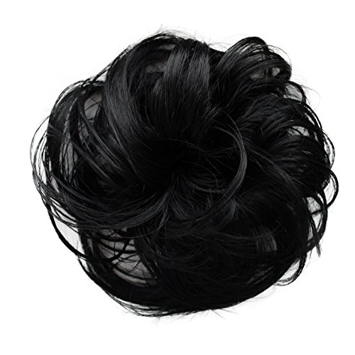 PRETTYSHOP Haarteil Haargummi Hochsteckfrisuren unordentlicher Dutt leicht gewell. Farbe: schwarz G1B