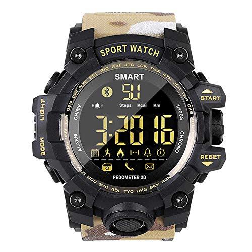 WRJY Reloj de Pulsera Militar de Camuflaje multifunción Deportivo Digital para Hombre 50M Cronómetro a Prueba de Agua Retroiluminación LED Contador de Pasos Calorías Notificación SMS Re