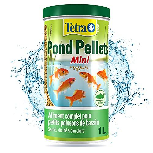 Tetra Pond Pellets Mini – Alimentation Quotidienne idéale pour tous les Petits Poissons de Bassin jusqu'à 15 cm – Mini Granules Enrichis en Oligo-éléments, Vitamines essentiels, Caroténoïdes – 1 L