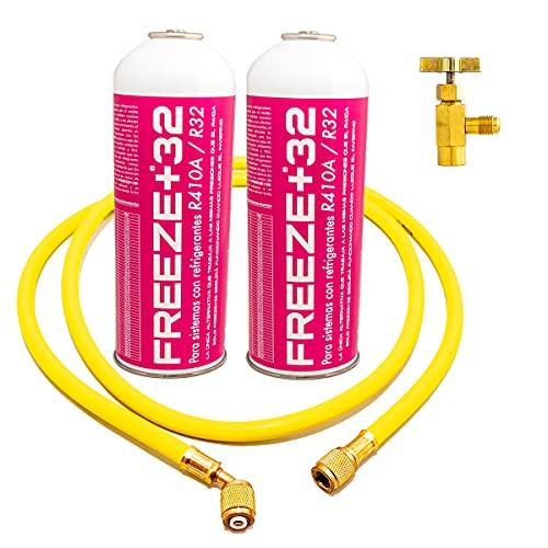 Kit 2 botellas Freeze +32 Orgánico de Recarga de Gas Refrigerante para Aire Acondicionado + Válvula de Servicio + Manguera de Carga rápida. Bombona de Gas orgánico ecológico sustituto de R410A, R32.