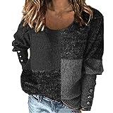 Mujer Suéteres Sólidos Patchwork Manga Larga Mezcla de Algodón Cuello Redondo Suéteres Otoño e Invierno Suéteres Crop Top