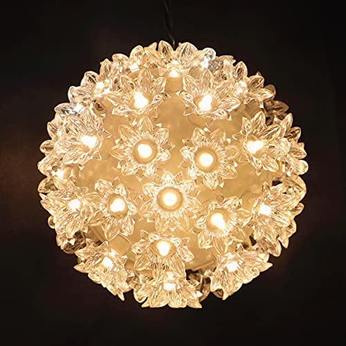 50 LED Warm White Starlight Sphere Lights, UL Certified Commercial 6 Inch Christmas Sphere Light, for Indoor Outdoor Party, Gate, Patio, Garden.
