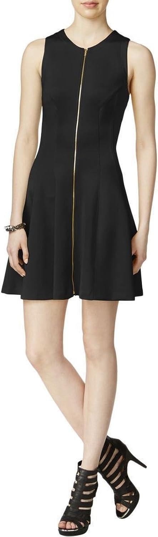 Bar III Women's ZipFront Fit & Flare Scuba Dress Black XXS