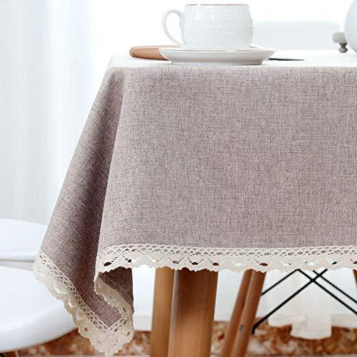 ZXCN Mantel Mesa Rectangular Lavable Cotton Linen Breathable para Cocinas Exteriores o Interiores Brown 130×130cm