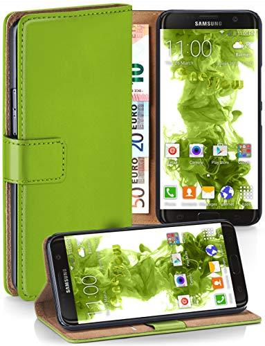 MoEx Premium Book-Case Handytasche kompatibel mit Samsung Galaxy S7 Edge | Handyhülle mit Kartenfach und Ständer - 360 Grad Schutz Handy Tasche, Grün