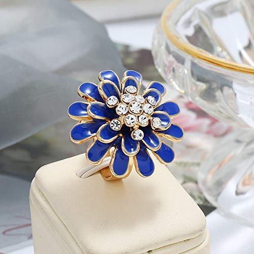 Adjustable Ring For Women,Blue Drip-Glazed Flowers Zirconia Exaggerated Fashion Charm Adjustable Open Knuckle Tail Ring Finger Joint Toe Ring Jewelry For Women Girls Gift Wedding Engagement Mother'S