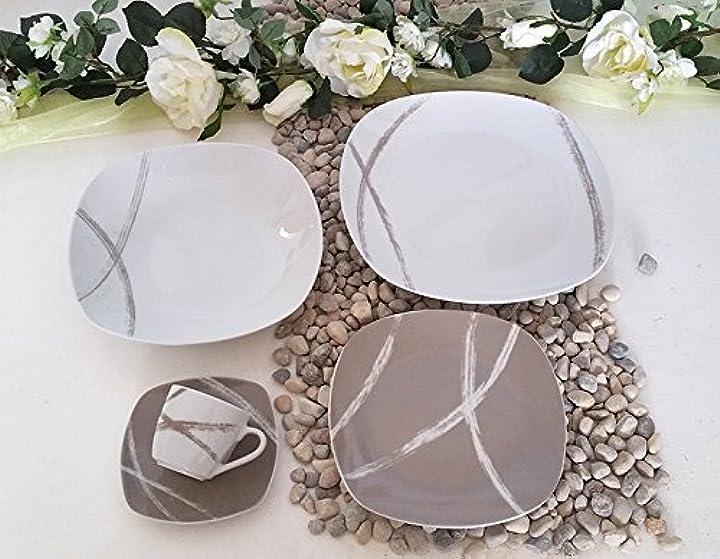Servizio piatti porcellana 38 pezzi per 12 persone 408 sandy tortora  progetto casa B06XBS52K4