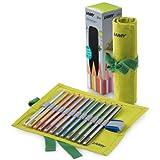 LAMY plus Farbstifte 530 12er-Set: Farbstiftrolle mit 12 Farbstiften aus hochwertigem Zedernholz mit ergonomischer Dreieckform und hoher Farbbrillanz – Dicke Mine Ø 4 mm -