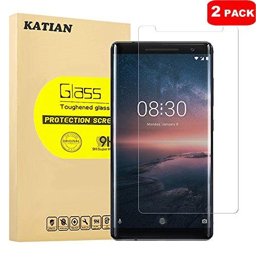 [2 Pack] Nokia 8 Sirocco Pellicola Protettiva, KATIAN Protezione Schermo in Vetro Temperato [2.5D Bordi Arrotondati] Protezione Film