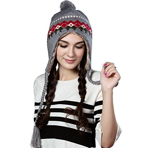 Wool Peruvian Beanie Hat for Women Earflap Hats Winter Ski Cap Fur Lining Grey