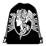 Mochila de gimnasio con cordón para deporte Rock Tour Surreal Mujer Sistema de Sonido Altavoces Tatuaje Viaje Universidad Mochila ligera