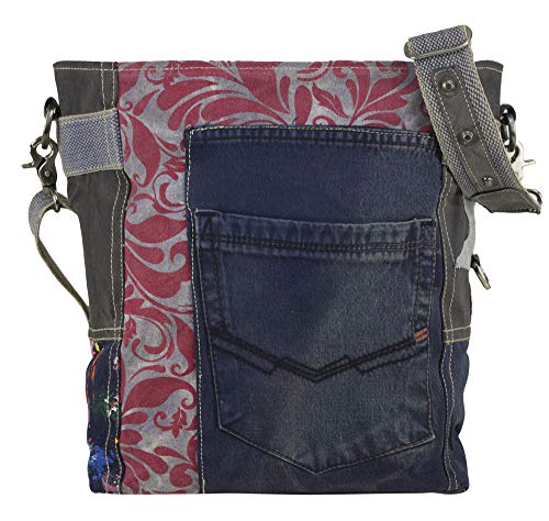 Sunsa Canvas Umhängetasche große Damen Herren Schultertasche Crossbody Tasche Damentasche Leder Henkeltasche Reisetasche Herrentasche Vintage Handtasche Studententasche Unisextasche Jeans