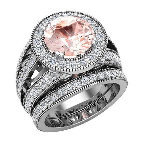 Morganite Wedding Rings Bridal Ring sets for women 14K White gold Real Accented Diamond Ring 9.10 mm 4.95 carat tw (G, SI)