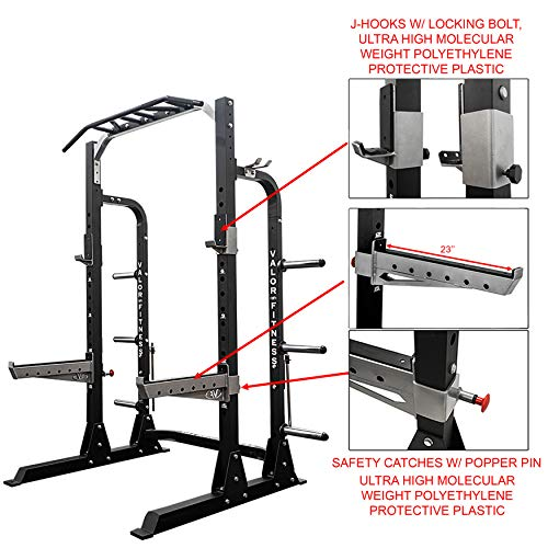 Valor Fitness PRO BD-58 Half Rack w/Plate Storage, Multi-Grip Pull Up Station, Bar Storage, and Band Pegs