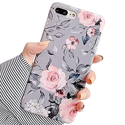 YeLoveHaw iPhone 8 Plus / 7 Plus Case for Girls, Flexible Soft Slim Fit Full-Around Protective Cute Phone Case Cover with Purple Floral and Gray Leaves Pattern for iPhone 7Plus / 8Plus (Pink Flowers)