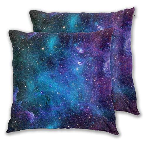 VINISATH Juego de 2 Fundas de cojín,Espacio Exterior Galaxia Estrellas en el Espacio Planetas astronómicos celestes en el Universo Vía Láctea,Decorativa Funda de Almohada Sofá Sillas Cama,45x45cm