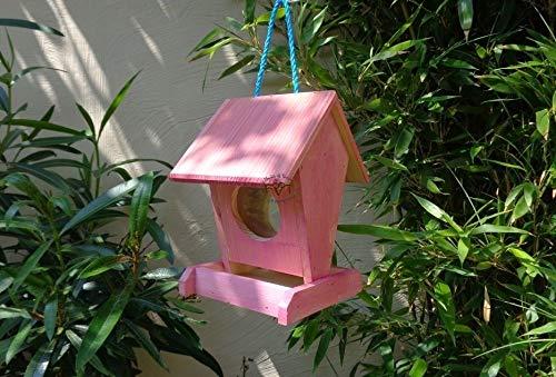 Vogelfutterstation-BEL-X-VOFU1K-pink002 XXL PREMIUM Vogelhaus Vogelfutterhaus Rot lachsrot behandelt pink rosarot Nistkasten für Nützlinge im Garten Marienkäfer, als Ergänzung zum Meisen Nistkasten Meisenkasten oder zum Insektenhotel, Futterstation für Vögel, Vogelhäuschen / Vogelvilla zum Hängen und Aufstellen von BEL - 2